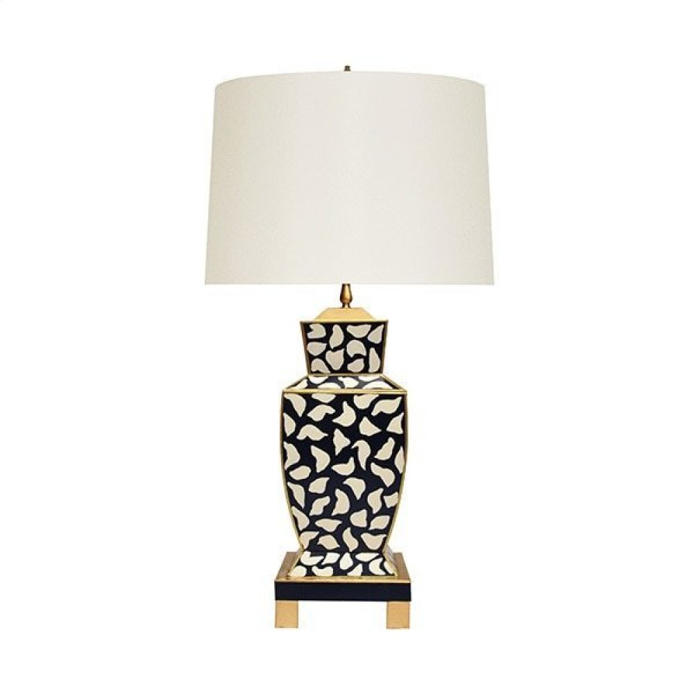 Hand Painted Urn Shape Tole Table Lamp In Black Leopard