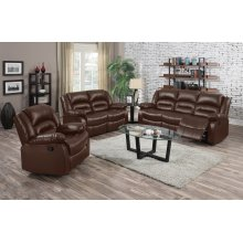 Eden Brown Leather Reclining Sofa