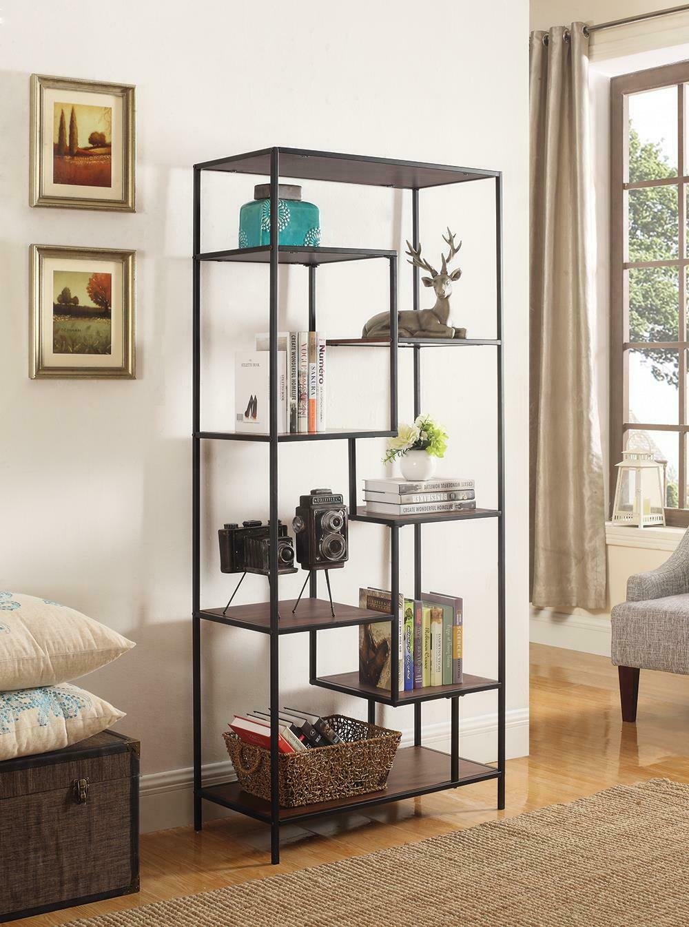 801134coaster Industrial Walnut And Black Bookcase