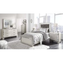 Lonnix - Silver Finish Twin Bedroom Set: Twin Bed, Nightstand, Dresser & Mirror
