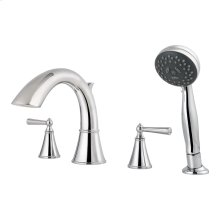 Polished Chrome 2-Handle Complete Roman Tub Trim with Hand Held Shower