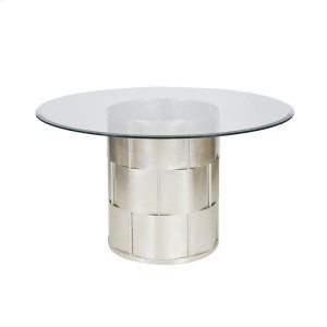 """Worlds AwaySilver Leaf Basketweave Dining Table W. 48"""" Dia Glass Top"""