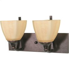 """2-Light 15"""" Copper Bronze Wall Mounted Vanity Light Fixture with Champagne Washed Linen Glass"""
