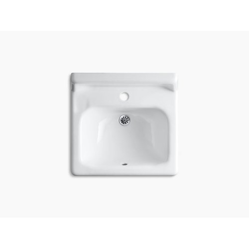 """White 20"""" X 18"""" Wall-mount/concealed Arm Carrier Bathroom Sink With Single Faucet Hole and Lugs for Chair Carrier"""