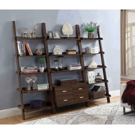 Transitional Dark Walnut Ladder Bookcase With Drawer Storage