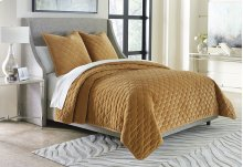 3pc King Coverlet Set Gold