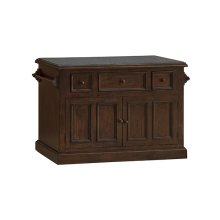 Tuscan Retreat® 3 Drawer 4 Door Large Granite Top Kitchen Island - Rustic Mahogany