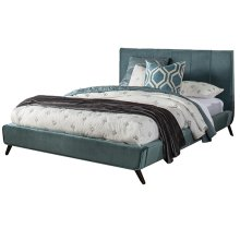 Aussie Queen Platform Bed - Teal Velvet