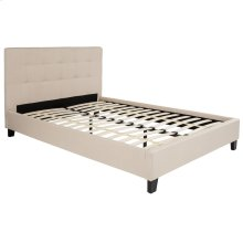 Full Size Upholstered Platform Bed in Beige Fabric