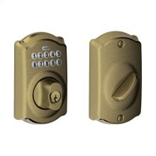 Camelot Trim Keypad Deadbolt - Antique Brass