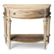 This elegant console table has a relaxed traditional aesthetic. Crafted from select hardwood solids and wood products, Its moderately distressed Driftwood finish enhances the oak veneer surfaces and hand carved details. It includes a handy storage drawer