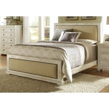 5/0 Queen Upholstered Headboard - Distressed White Finish