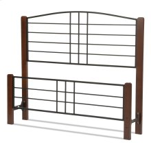 Dayton Metal Headboard and Footboard Bed Panels with Flat Wood Posts and Sloping Top Rail, Black Grain Finish, Queen