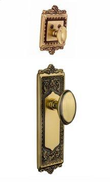 Nostalgic - Handleset Interior Half - Egg and Dart Plate with Homestead Knob in Antique Brass