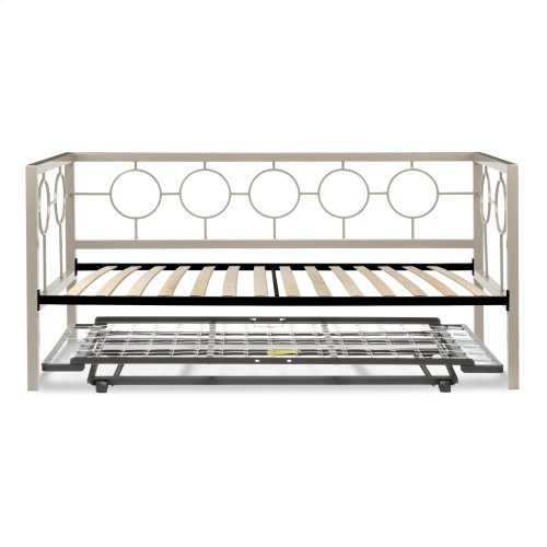 Astoria Complete Metal Daybed with Euro Top Deck and Trundle Bed Pop-Up Frame, Champagne Finish, Twin