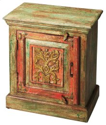 The handpainted design on the Jaljira accent table will add incredible beauty to your home. The rich red and natural green distressed painted finish add elegance and Asian flair. The cabinet conceals all your needs while the top is an inviting space for a