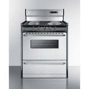 "SummitDeluxe 220v Electric Range With Stainless Steel Doors, Clock/timer, and Oven Window With Light In 30"" Width"