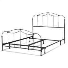 Affinity Complete Bed with Metal Spindle Panels and Detailed Castings, Blackened Taupe Finish, Queen