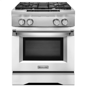 KitchenAid30'' 4-Burner Dual Fuel Freestanding Range, Commercial-Style Imperial White