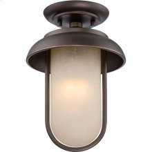 LED Outdoor Flush Fixture with Satin Amber Glass