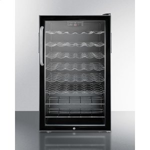 """SummitCommercially Listed 20"""" Wide Freestanding Wine Cellar With Lock, Digital Thermostat and Towel Bar Handle"""