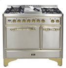 "Stainless with Chrome trim 40"" Majestic Solid Door 6 Burner Dual Fuel Range Product Image"