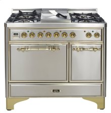 "Stainless with Chrome trim 40"" Majestic Solid Door 4 Burner Dual Fuel Range + French Top"