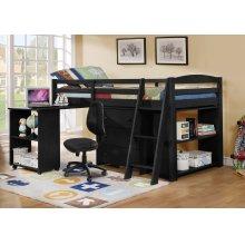 Joshua Black Twin Loft Bed with Desk