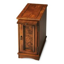 Selected solid woods with choice cherry veneers. Four-way book matched cherry veneer top with inlayed walnut frame. Cherry veneer sides, back panel, and pullout tray.
