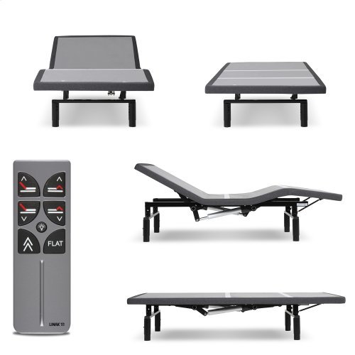 Falcon 2.0+ Low-Profile Adjustable Bed Base with Under-Bed Lighting, Charcoal Gray, Full XL