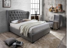 Festa Gray Tufted Upholstered Queen Bed