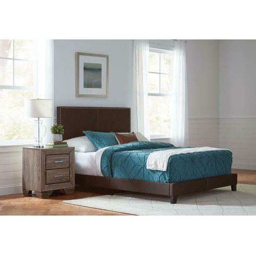 Boyd Upholstered Brown Queen Bed
