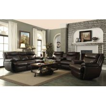 Macpherson Brown Leather Reclining Loveseat