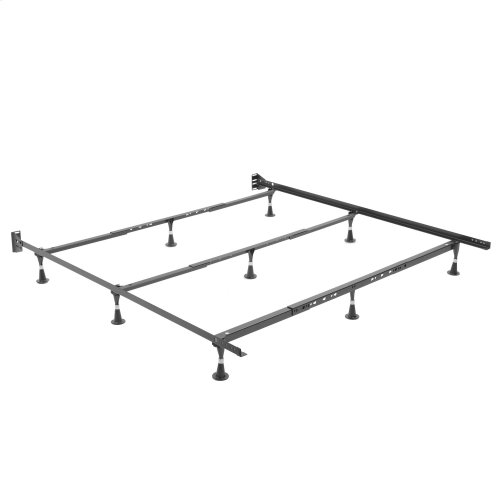 Nautilus Adjustable Waterbed Frame H2056 with Reversible Headboard Brackets and (9) Leg Glides, Queen - King