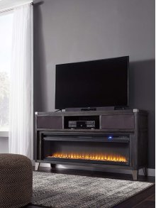 Large TV Stand w/ Rock Fireplace