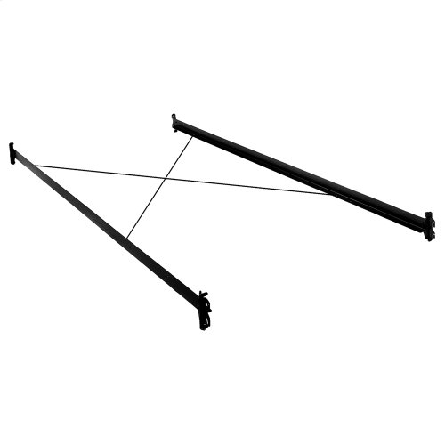 81-Inch 35H Black Bed Frame Side Rails with Hook-On Brackets and Sta-Tite Wires for Headboards and Footboards, Queen