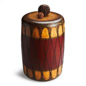 This authentic looking red and cream rustic drum table is made of select wood solids, wood products, resin components and is covered in leather. This fits in an early American theme, mancave or natural indigenous décor. This piece is handcrafted from th