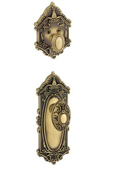 Grandeur - Single Cylinder Combo Pack Keyed Differently - Grande Victorian Plate with Grande Victorian Knob and Matching Deadbolt in Vintage Brass
