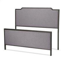 Bayview Metal Bed with Gray Dove Upholstered Headboard and Footboard, Black Pearl Finish, Queen