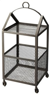 Reminiscent of an industrial elevator, this bold industrial accent table is a must for anyone with a desire for the unique. With a lower wire grate basket and a wire grate shelf, this table delivers compelling visual appeal and versatile function with its
