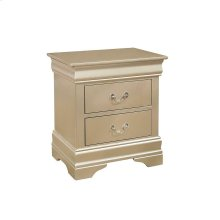 Hershel Louis Philippe Metallic Champagne Two-drawer Nightstand