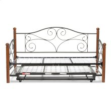 Doral Complete Metal Daybed with Link Spring Support Frame and Pop-Up Trundle Bed, Matte Black Finish, Twin