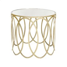 Silver Leafed Ovals Side Table W. Mirror Top
