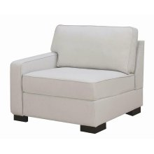 Transitional Ivory Left-arm-facing Sectional Chair