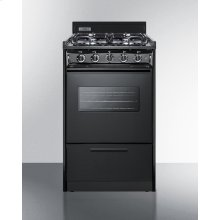"20"" Wide Gas Range In Black With Sealed Burners, Oven Window, Interior Light, and Electronic Ignition"