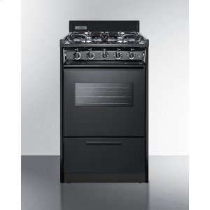"Summit20"" Wide Gas Range In Black With Sealed Burners, Oven Window, Interior Light, and Electronic Ignition"