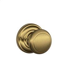 Andover Knob with Andover trim Hall & Closet Lock - Antique Brass