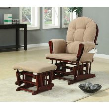 Traditional Beige Rocking Glider With Matching Ottoman
