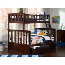 Columbia Bunk Bed Twin over Full with Urban Bed Drawers in Walnut