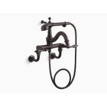 Oil-rubbed Bronze Floor- or Wall-mount Faucet With Lever Handles, Diverter Spout, Polished Finish Accents and Handshower